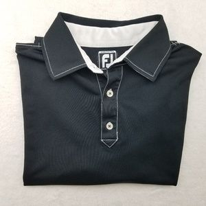 Footjoy Black White Athletic Fit Golf Polo Large